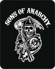 SOA SONS OF ANARCHY 79x96 Queen BLANKET : LICENSED SAMCRO REAPER BLACK WHITE