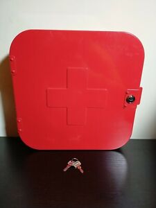 Stylish IKEA Gunnern Red Metal Medical Cabinet VGC! With 2 Keys UK Seller P+P