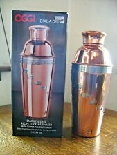New listing Oggi Dial-A-Drink Stainless Cocktail Shaker Mixer Mancave Bar Copper Plated Ext