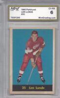 1960 Parkhurst hockey card #35 Len Lunde, Detroit Red Wings GRADED 6 EXMT