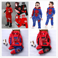 Kids Baby Boys Spider-Man Outfits Coat/Long Sleeve T Shirt /Pants Clothes Set