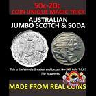 50c - 20c AUSTRALIAN DOLLAR COIN UNIQUE CLOSE UP MAGIC TRICK JUMBO SCOTCH & SODA