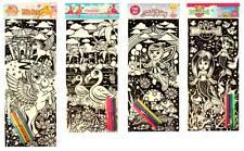 Pack of 4 Felt Colouring Art Sets Pictures With Felt Tip Pens Flocked Velvet