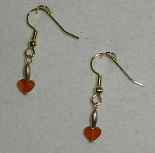 "EARRINGS -ORANGE CARNELIAN HEART BEADS- 1 1/4""- GOLD PLATED HYPOALLERGENIC HOOKS"