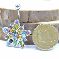 Surgical Steel Multi-Coloured Crystal Flower Piercing Button Navel Belly Bar