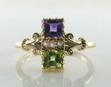 DIVINE 9K 9CT GOLD SUFFRAGETTE AMETHYST PERIDOT PEARL ART DECO INS RING