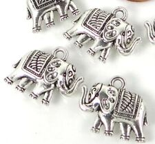 8 Antiqued Silver Pewter Elephant Charms 16x18mm