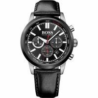 Hugo Boss HB1513191 Exclusive Men's Quartz Chrono Black Leather Strap Watch
