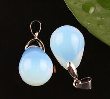 2Pc Crystal Gemstone Opal Pendant Necklace Dangle Drop DIY Jewelry Making Charm