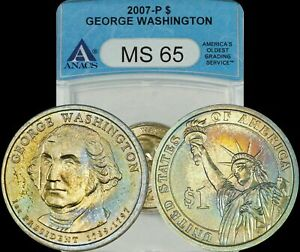 2007-P George Washington Dollar ANACS MS65 Turquoise/Golden/Red Toned Coin