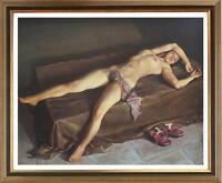"Original Portrait Oil painting female art nude girl on Canvas 30""x30"""