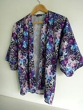 Ladies Lovely Golddigga Purple Mix Floral Kimono Open Party Top 10, Vgc
