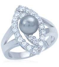 Pearl Gemstone Sterling Silver Ring size O