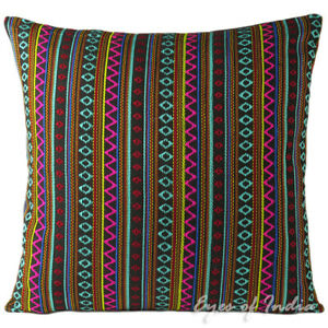 "16/24"" Black Pink Teal - Dhurrie Sofa Couch Pillow Cushion Cover Case Colorful D"