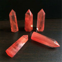 40-50MM Red Smelting Quartz Crystal Point Healing Obelisk Hexagonal Wand Reiki