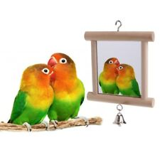 Pet Parrots Birds Toy With Bell Double Side Wood Mirror Hang on Cage Swing Play