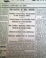 BATTLE OF MILL SPRINGS Kentucky George H. Thomas WIN 1862 Civil War Newspaper
