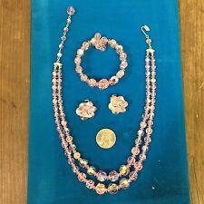 Vintage '1960 SHERMAN pink crystal necklace bracelet earrings set