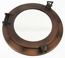 "Iron Metal Ship's Porthole Mirror 11"" Antiqued Brown Finish Nautical Wall Decor"