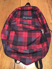 New listing Jansport Backpack Red and Black Plaid Student School Bag Back Pack