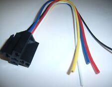(5) 12V DC Standard Relay Socket Harness 5 Pin Wire 16-14 GA Gauge Plug End New!