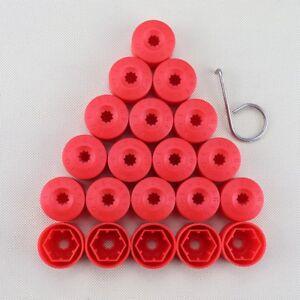 For VW Volkswagen Wheel Lug Nut Bolt Cover Caps Set of 20 OEM 1K06011739B9 Red
