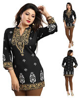 Top Printed INDIAN MINI KURTA KURTI TUNIC TOP SHIRT 3/4 Sleeve MI570 BLACK