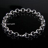 """7-11""""3.5/4.7/6/8mm Women Men's 316L Stainless Steel Silver Rolo Chain Bracelet"""