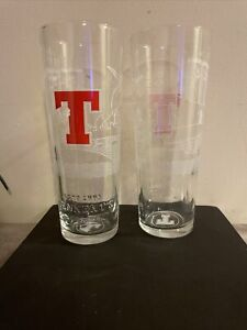 Pack Of 2 Tennents Rugby Pint Glass   Limited Edition   Scotland   Lager   LTD