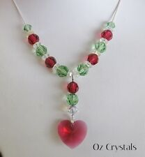 Heart Y  Heart Drop Necklace made with Swarovski Peridot & Bordeaux & 925 Silver