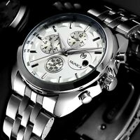 Mens Watch Mechanical Automatic Silver Stainless Steel Six Hands Date Day Luxury