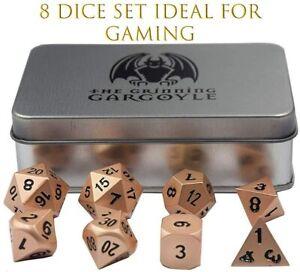 Metal Polyhedral 8 Brass D&D Dice Set + Metal Case - Dungeons & Dragons 2x D20