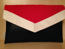 NAUTICAL OVER SIZED  NAVY BLUE, RED & WHITE envelope faux leather clutch bag BN