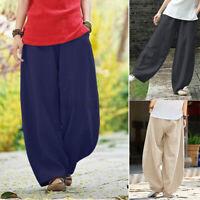 ZANZEA Womens Pants Casual Loose Elastic Waist Wide Leg Harem Trousers Plus Size
