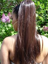 Long straight drawstring ponytail hair extension piece Brown Black Blonde