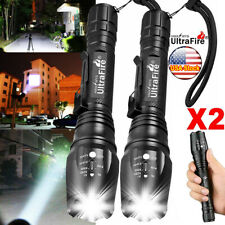 2PCS Tactical 350000LM Zoomable Focus LED High Power Flashlight Quality Torch
