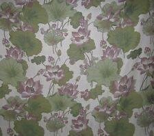 4 3/4 YARDS PRETTY FLORAL FABRIC ~ GREEN LAVENDER OFF-WHITE ~ UPHOLSTERY DRAPERY