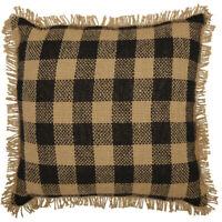 BURLAP BLACK CHECK PILLOW Fringed Tan Rustic Farmhouse Cotton 12x12 VHC Brands