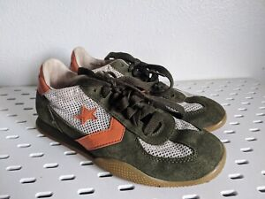 CONVERSE RE-ISSUE GREEN/ORANGE/ SUEDE WHITE MESH SNEAKERS MENS 5.5/ WOMENS 7.5