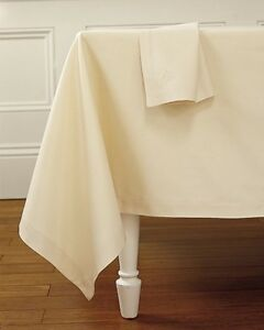 IVORY CREAM TWILL POLY COTTON TABLE CLOTH COVER / NAPKINS - QUALITY TABLE LINEN