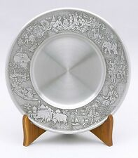 Pewter Dinner Plate, Cold Food Pewter Plate, Elephant Motif Pewter Serving Plate
