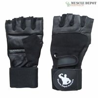 Small Gym Bodybuilding Black Leather Fitness Lifting Weight Training Gloves