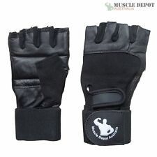 New Gym Muscle Bodybuilding Black Leather Fitness Lifting Weight Training Gloves