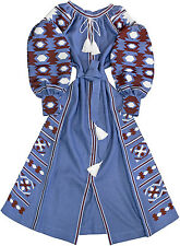 "Embroidered long boho style dress - ukrainian vyshyvanka ""Misty Opal"". All sizes"