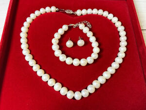 9-10mm White Freshwater Pearl Necklace Set with 925 Silver Clasp with Gift Box