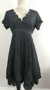 Ted Baker Black Lightweight Ruffled Hem Scallop Dress Cotton/Silk Size 3 UK 12