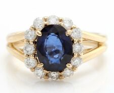 2.90 Carat Natural Sapphire and Diamonds in 14K Solid Yellow Gold Women's Ring