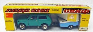 Lada Niva VAZ 2121 green + Skif trailer 1/43 Saratov A-20 USSR CCCP NMB