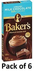 (6) Baker's Premium Baking Creamy Milk Chocolate Bar 32% Cacao 4 oz BB 09APR21