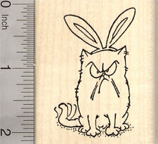 Easter Grumpy Cat Rubber Stamp, with Bunny Ears H26911 WM